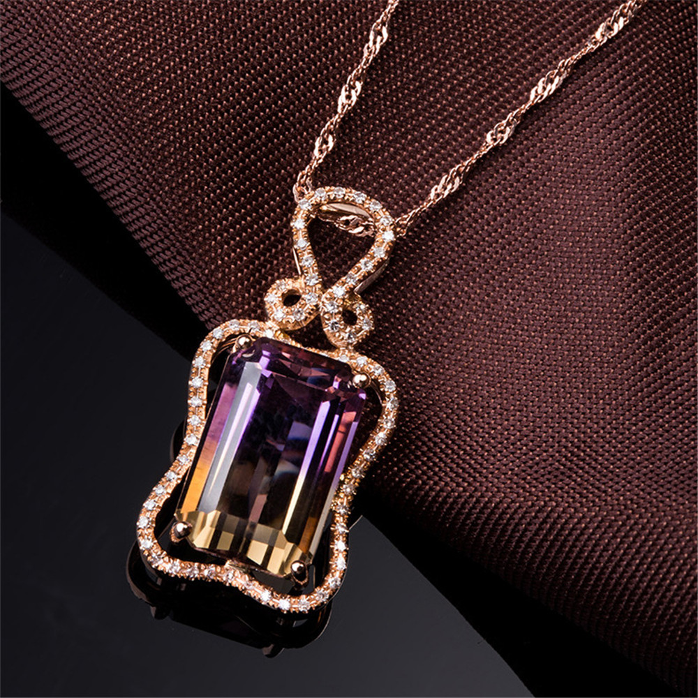 Amethyst & Citrine Stone Pendant Necklace For Women 18k Rose Gold Tone Large Big Gemstone Crystal Zircon Diamonds Bijoux Gifts