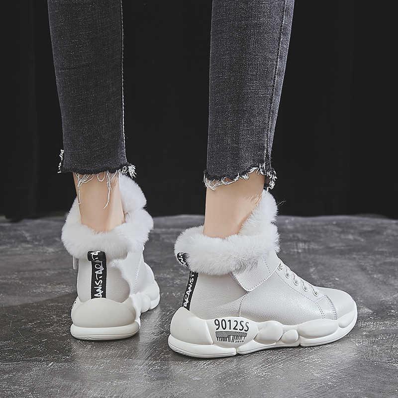 Kadın kış çizmeler moda deri su geçirmez kar botları kürk sıcak kama yarım çizmeler kadınlar için gündelik ayakkabı ayakkabı Botas Mujer