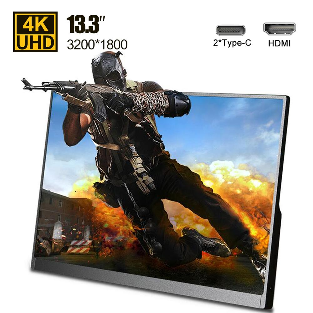 "Ultra thin 13.3"" inch 4K Type C portable monitor for phone laptop PS4 Switch Xbox gaming monitors LED screen display USB C HDMILCD Monitors   -"