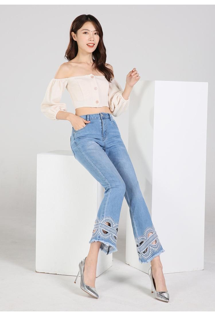 KSTUN FERZIGE high waist women jeans stretch light blue hollow out embroidery slim fit bell bottom pants fashion women's jeans size 36 15