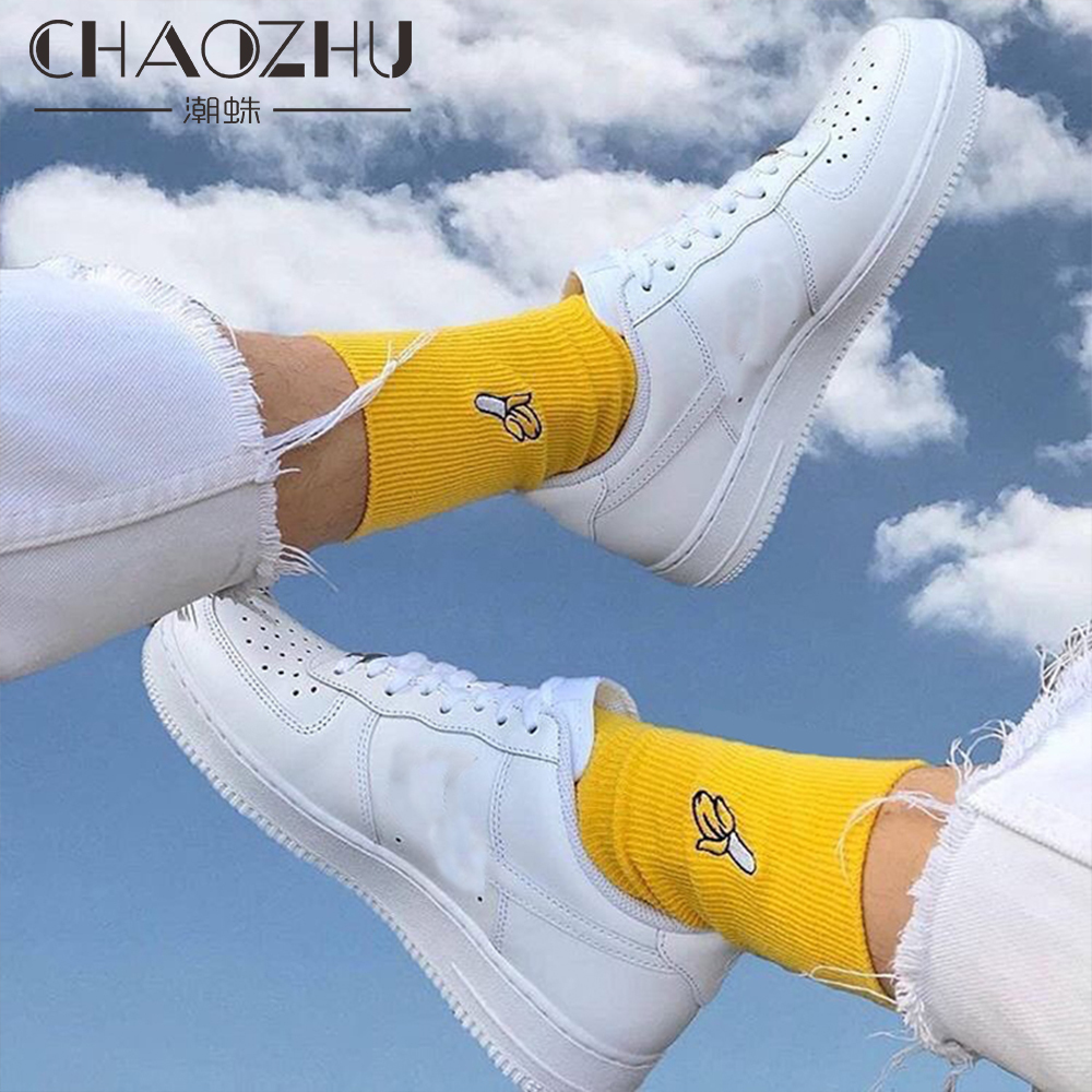 CHAOZHU Spring Summer Sweet Embroidery Socks Fruits Peach/Pineapple/Banana/Avocado Fresh Funny Women Girls Loose Rib Cotton Sock
