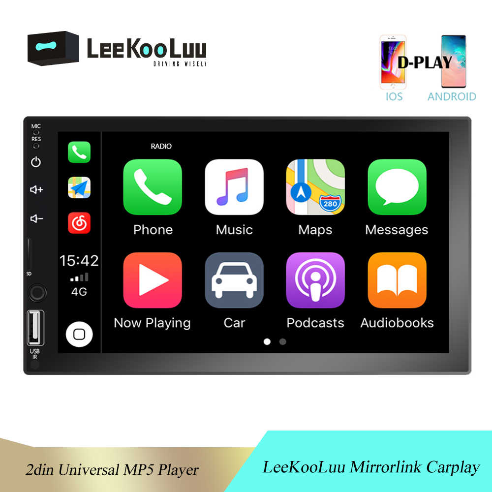 "LeeKooLuu Autoradio 2din Auto Radio Bluetooth Android Auto 7 ""Touch Screen 2 Din D-Carplay Video MP5 Speler USB TF USB Stereo"