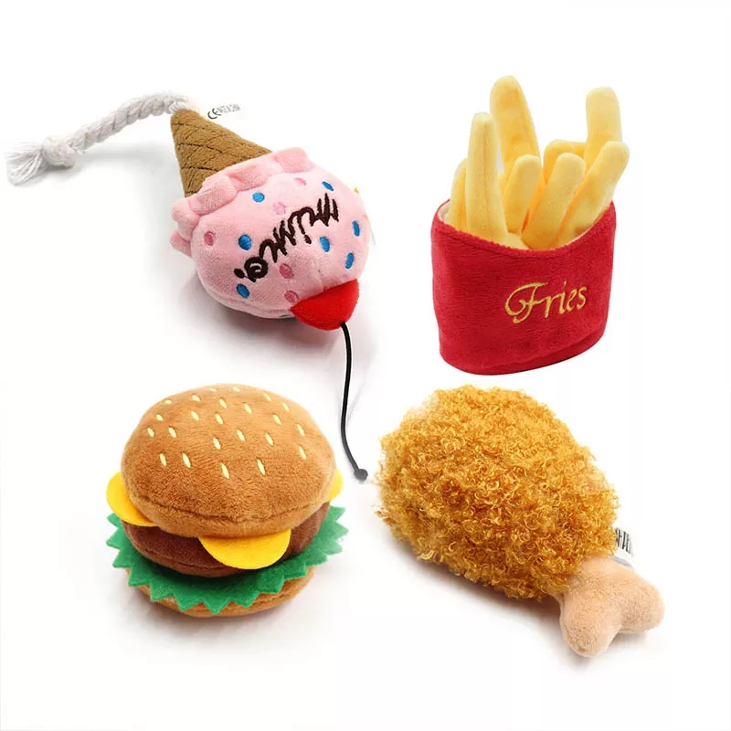 4/7PC SET Hamburger Plush Soft Stuffed Dog ToysSqueaky French fries Shape Chew Bite Resistant Toy for Dogs Pet Toys Accessories 5