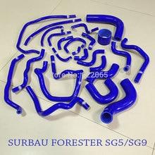 Performans radyatör silikon hortum kitleri SUBARU FORESTER için SG5/SG9 1998 2008YEAR mavi