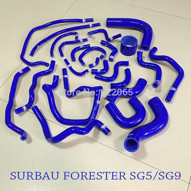 ביצועים רדיאטור סיליקון צינור ערכות עבור סובארו פורסטר SG5/SG9 1998 2008YEAR כחול