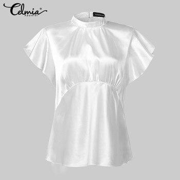 2020 Summer Celmia Women Solid Blouses Casual Short Ruffles Sleeve OL Tops Ladies Elegant Shirt Plus Size Back Zipper Blusas 5XL 5