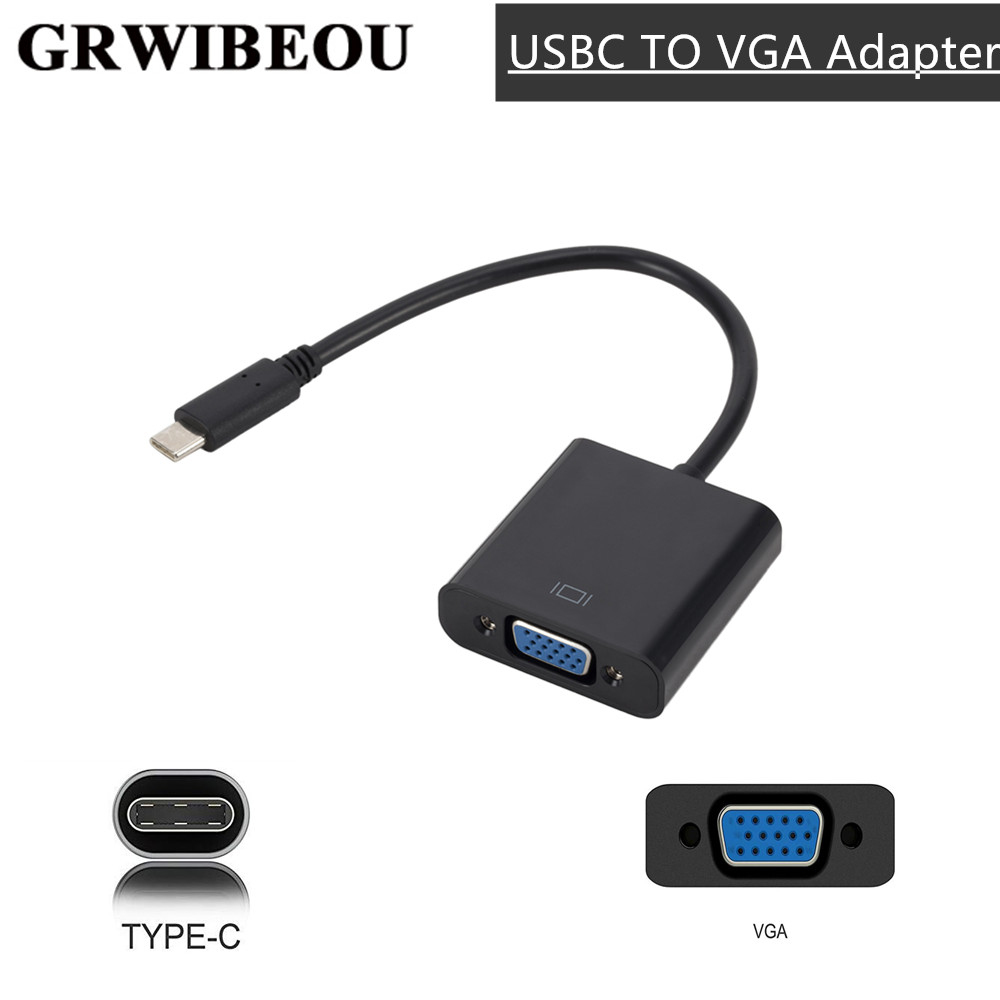 Кабель-адаптер Grwibeou VGA Type C-Female, адаптер USBC USB3.1-VGA для Macbook 12 дюймов, Chromebook Pixel Lumia 950XL, Лидер продаж