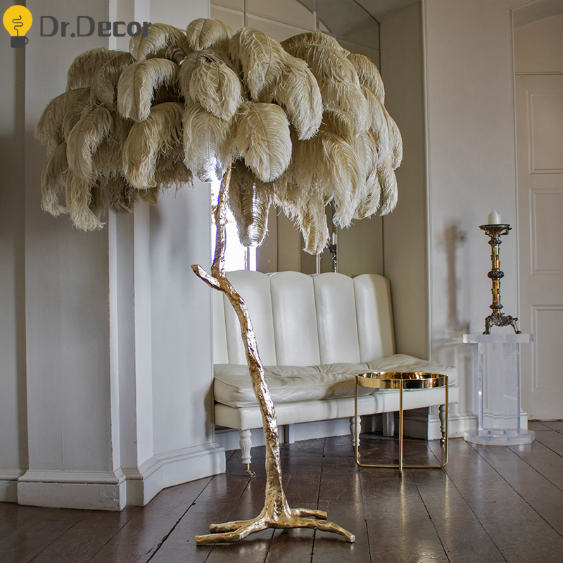 Modern Ostrich Feather Gold Floor Lamp Copper Brass Resin Nordic Luxury Standing Lamp For Villa Tripot Hotel Decorative Lighting