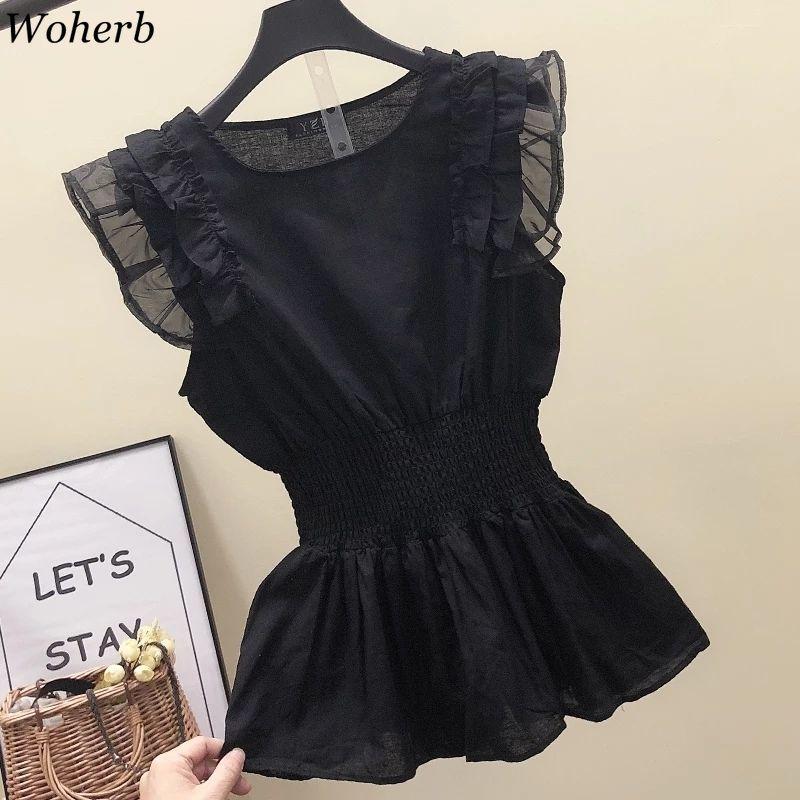 Woherb Korean Women Cotton Linen Blouse Summer Tunic Tops Loose Sleeveless Pleated Shirt Black Ruffle Blusas Mujer Clothes 39708(China)