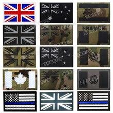 Patch de drapeaux Multicam, France, espagne, états-unis, Canada, israël, NL, italie, allemagne, royaume-uni, infrarouge, militaire, réfléchissant, Badge
