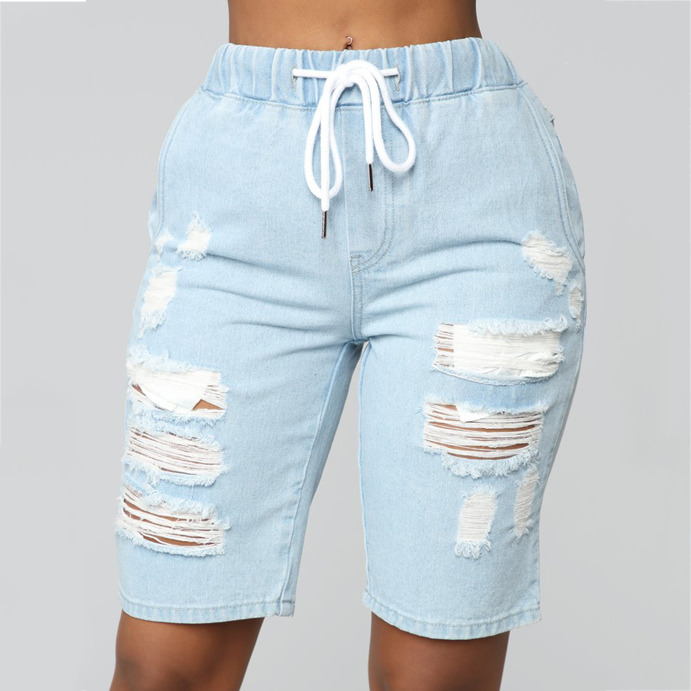 Women Shorts Jeans Waistband Elastic Short Pants Light Blue Hollow Out Hole Ladies Jeans For Summer Fashion Casual Female Shorts