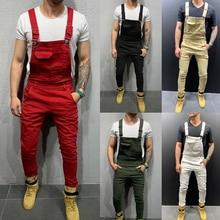 Jeans Pants Jumpsuits Trousers Overalls Moto Plus-Size Men's Denim Casual Bib Dungaree