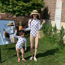 Long sleeve dot swim wear for mother and kids swimwear and swimming trunks One-piece swimsuit beach wear summer girls clothes
