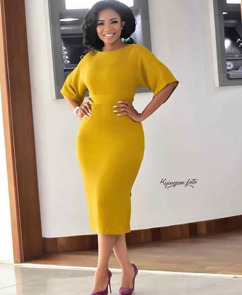 Novedad de 2019, elegante estilo africano de moda, vestido de verano de talla grande hasta la rodilla, M-XXL