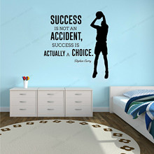 цена на Wall sticker  Vinyl  Success Is Not An Accident Quote Home Decor Basketball Player Wall decorHJ362