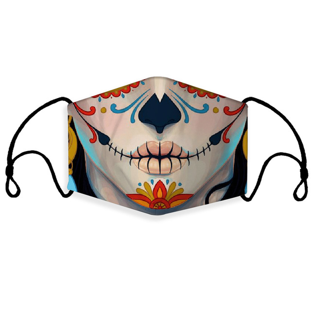 Print Mouth Mask Washable Cotton PM2.5 Filter Mask Anti Dust Face Mask Reusable Mouth-muffle Bacteria Proof Flu Adult Kids Mask 2