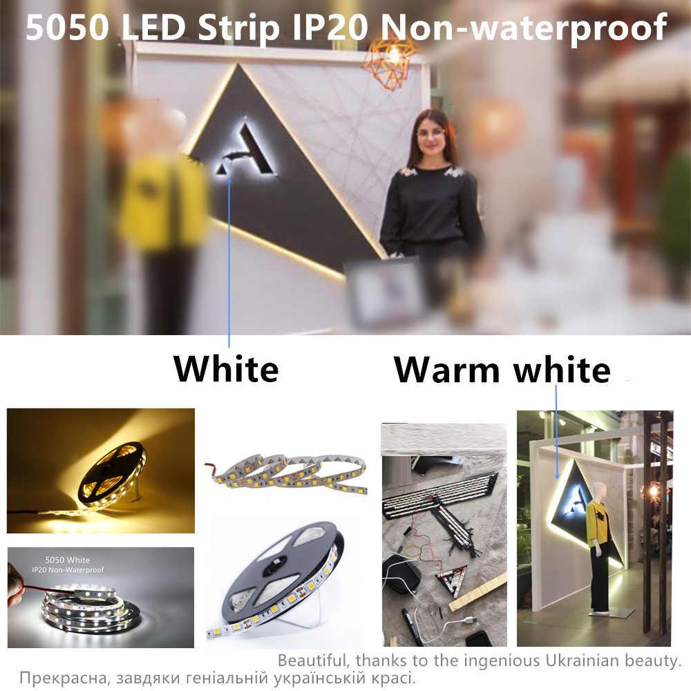 Tahan Air DC12V SMD 5050 RGB RGBW WW Lampu LED Strip Flexible Strip Lampu 60 LED/M Pita LED Rumah dekorasi Lampu Mobil Lampu Dekorasi