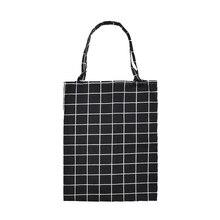 Useful Linen Shoulder Bag ECO Shopping Tote Check Plaid Bag No Lining ECO Handbag Tote Reusable Grocery Shopper Bags