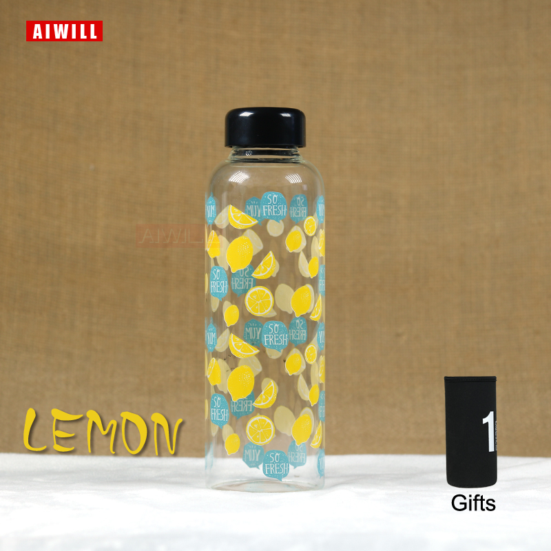LEMON glass water bottle