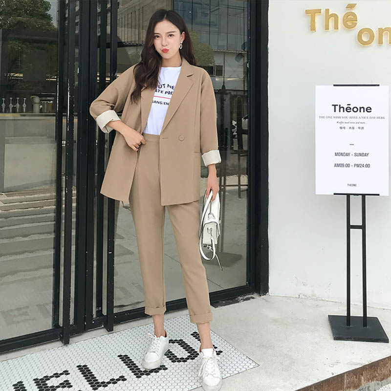 Autumn Chic Women's Suit Notched Collar Office Ladies Suits Sets Casual Fashion Women Long Pants Blazers Sets 2019 High Quality
