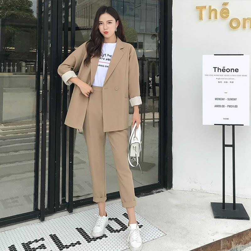 Autumn Chic Women's Suit Notched Collar Office Ladies Suits Sets Casual Fashion Women Long Pants Blazers Sets 2019 High Quality