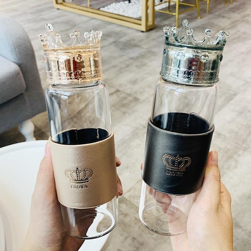 Стеклянная бутылка для воды Queen Crown, 300 мл, милая герметичная чашка для воды для девочек, Женская бутылка для воды, подарки