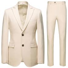 Men Wedding Suits Jas Broek 2021 Formal Business Smoking Party Dress 2 Delightful Set Man Mode Revers Bridal Gum Blazers Jackets