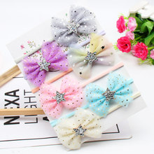 6 Pcs/Set Lace Hair Bow Headband With Glitter Star Knotted High Elastic Nylon Band Princess Bling Kid Accessories
