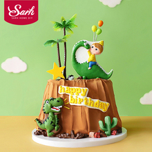 Coco Tree Leaf Cartoon Dinosaur Cake Topper Dessert Decoration for Birthday Party Lovely Gifts