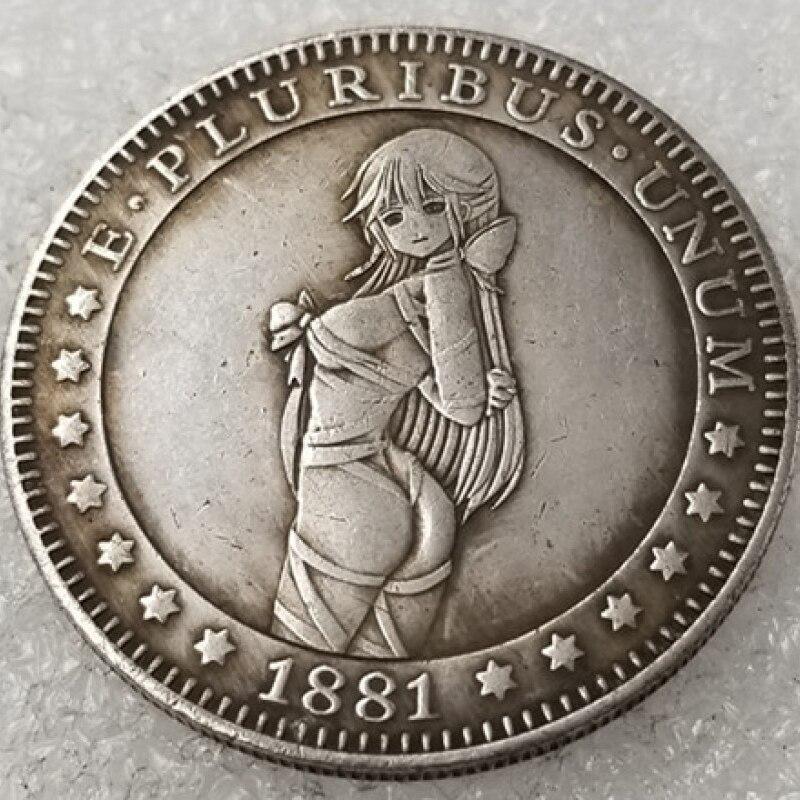 Cute Girl America Hobo Nickel Creative Souvenir Plated Antique Coin Collectible Coin Old Commemorative Ancient Coin Replicas