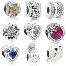 Autunmn Colletion Wholesale 100% 925 Sterling Silver heart CZ charms Fit Pandora Bracelet Beads For Jewerly Making Gift цена