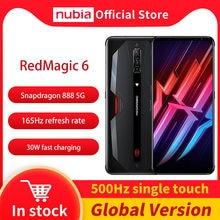 Nubia redmagic 6 gaming smartphone versão global 6.8 snap' 165hz amoled snapdragon 888 octa núcleo 30w carga rápida magia vermelha 6
