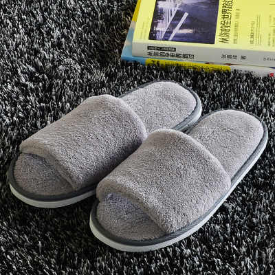 New High Quality Coral Fleece Hotel Slippers Thick EVA Bottom Soft Slippers Home Five-star Hotel Slippers Guest Serving Slippers