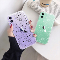 UIGO Klar Sterne Mond Raumschiff Telefon Fall Für iPhone 11 Pro Max XR X XS 6 6s 7 8 plus SE 2020 Nette Raum Planeten Linie Shell