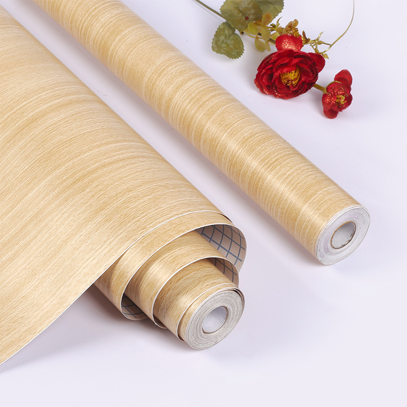 European Style Wood Grain Self-Adhesive Wallpaper Stripes Dormitory Bedroom Decoration Wallpaper PVC Thick Waterproof Wallpaper