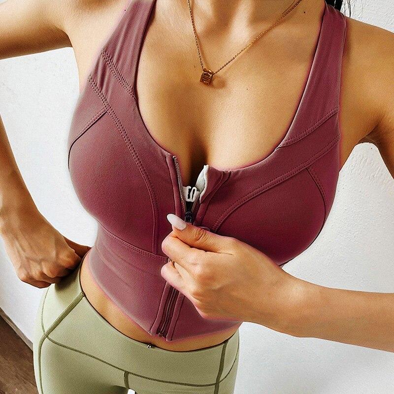 Cloud Hide Sexy Sports Bra Women Zipper Underwear Push Up Yoga Crop Top Bras Solid Athletic Vest Gym Fitness Shirt Sportswear XL