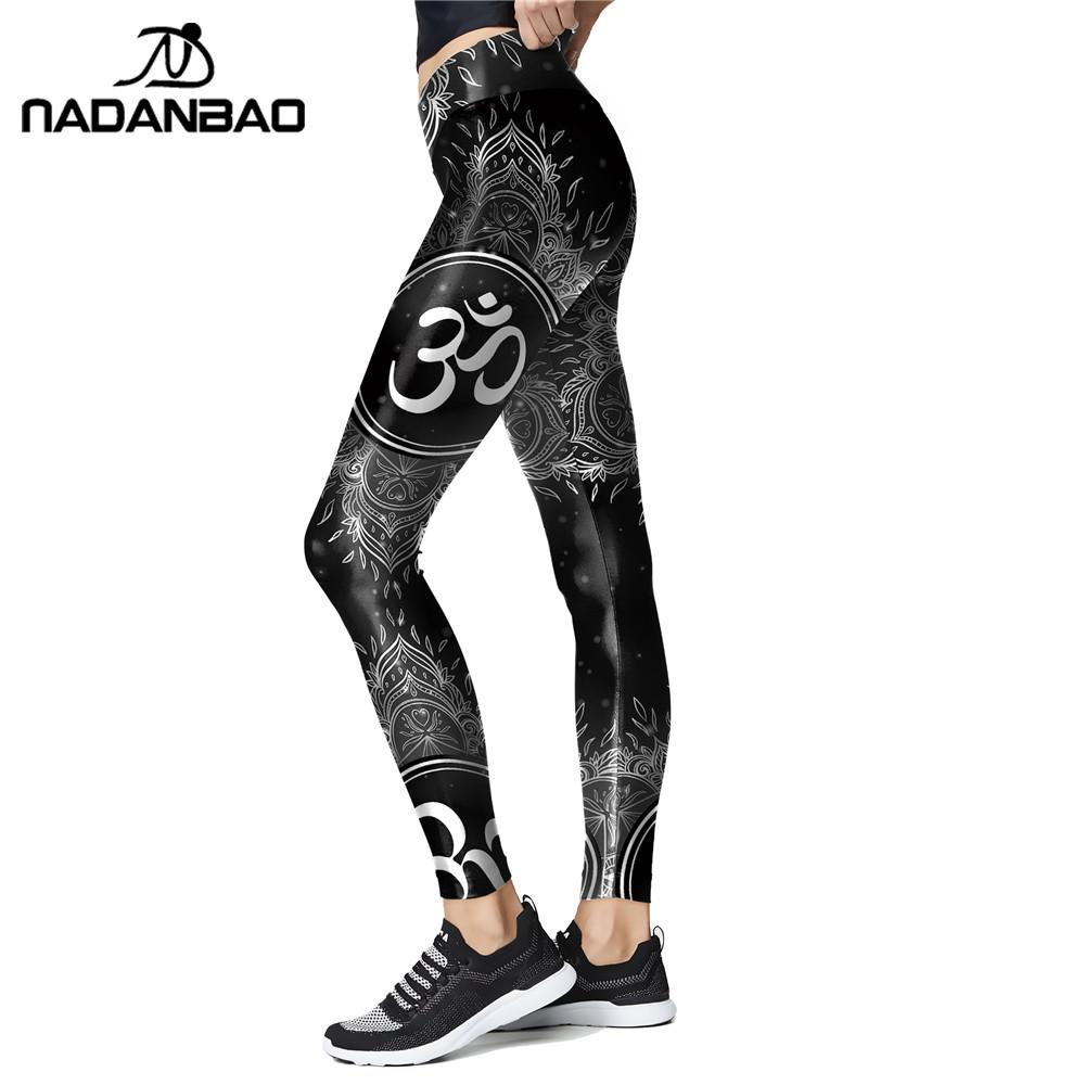 NADANBAO India Chakra Leggings Women Slim Workout Pants High Wasit Aztec Round Ombre Leggins For Fitness Elastic Legins