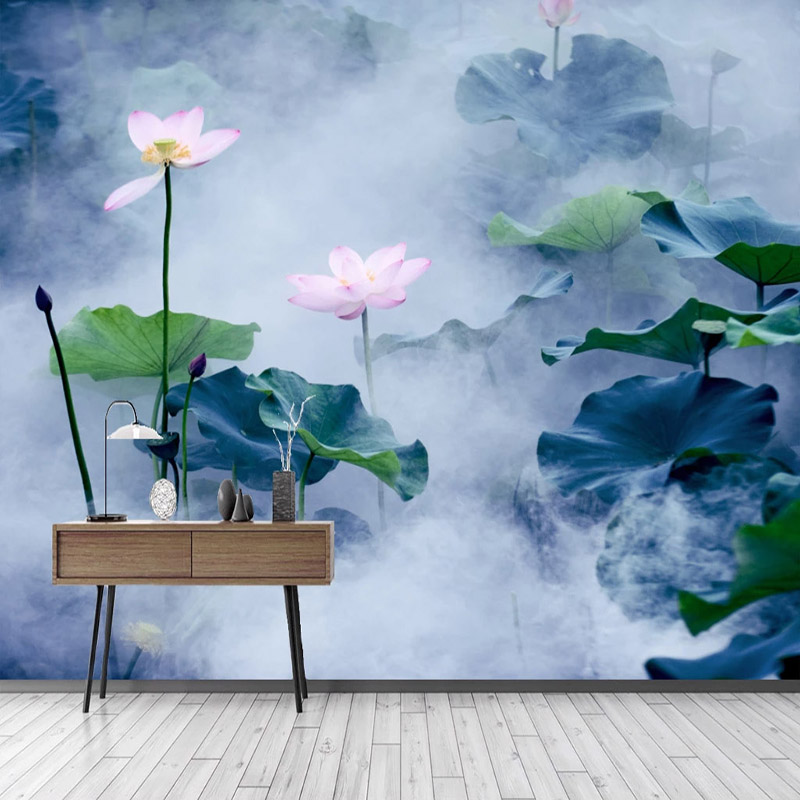 Custom 3D Wall Murals Wallpaper New Chinese Style Lotus Flower Ink Painting Study Living Room TV Background Wall Painting Canvas