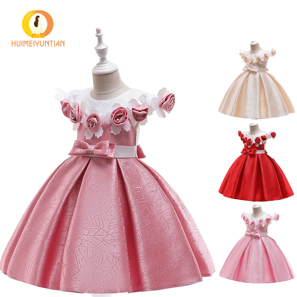 2019 Europe And America AliExpress New Style Flower Princess Cute Dress Children Catwalks Performance Middle And Large GIRL'S Go