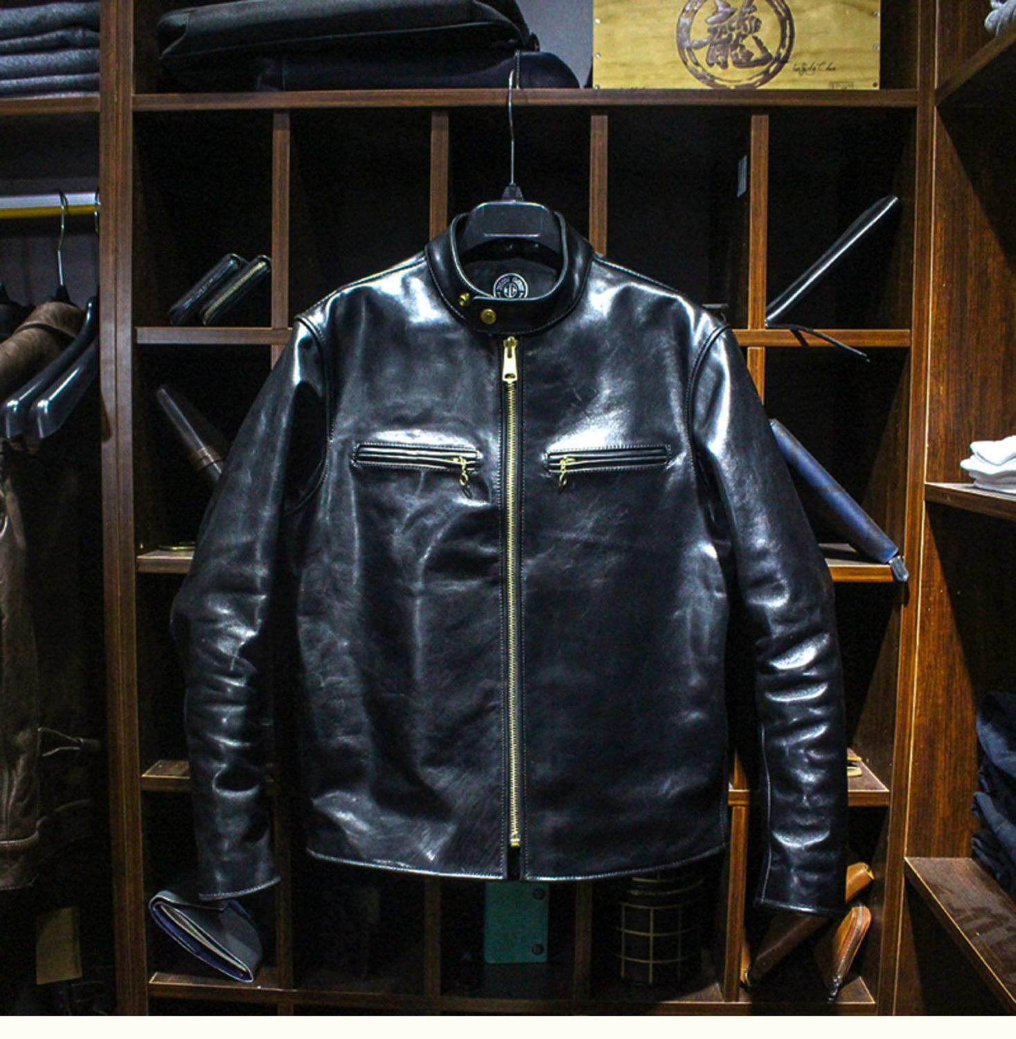 Image 2 - YR!Free shipping.Luxury japan Vegetable tanned batik horsehide jacket,1.3mm thick 641 classic style,Mens genuine leather coat,Genuine Leather Coats   -