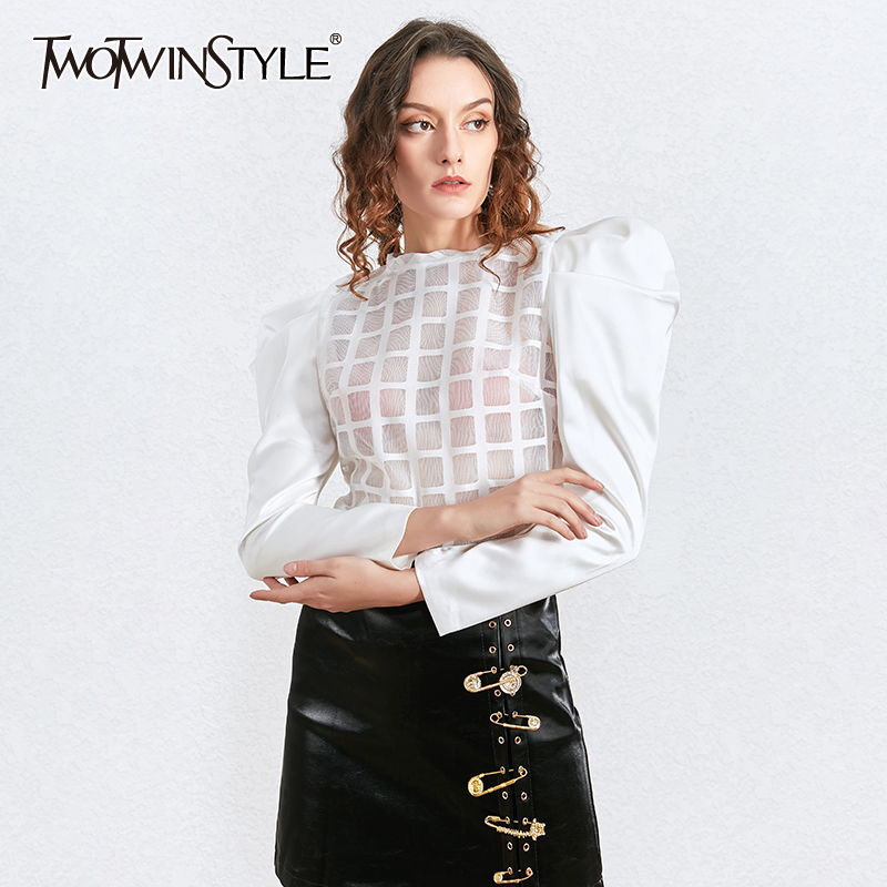 TWOTWINSTYLE Patchwork Perspective Striped Shirt For Women O Neck Puff Sleeve Zipper Sexy Party Blouse Female Autumn 2020 New