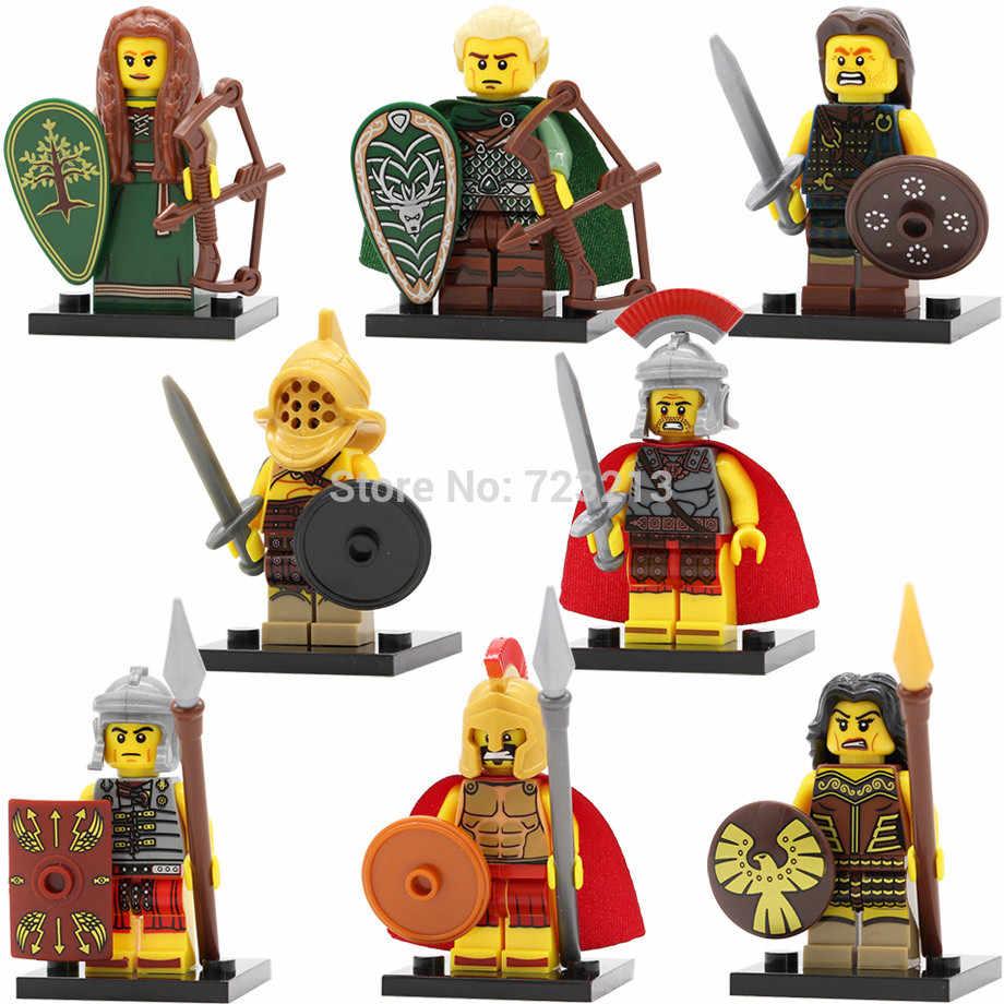 ขายเดียวโรม Gladiatus รูป Elf Hunter แม่มดแม่มด Fighter HERO Of Sparta Building Blocks ชุดของเล่น