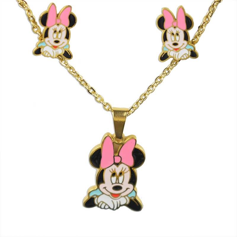 Aousix 절묘한 귀여운 스터드 귀걸이 목걸이 여자를위한 보석 세트 여자 아이 귀여운 마우스 스테인레스 스틸 미키 쥬얼리 선물