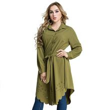 M-6XL Plus size Autumn Women Long Blouse Casual Irregular Long Sleeve Office Long Shirt Hollow Out Flower Large Size Blouse Tops