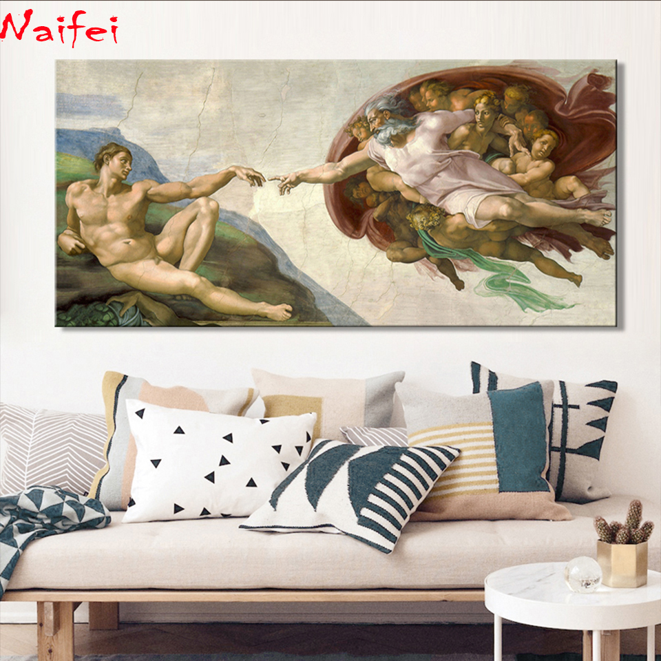 Sistine Chapel Ceiling Fresco of Michelangelo,Creation of Adam Poster Diamond painting Wall Art Picture for Living Room Decor