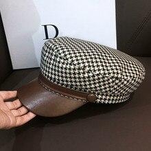 Octagonal-Cap Hat Berets Newsboy-Cap Vintage Women Jin-Swhbias Plaid for Visors Ladies