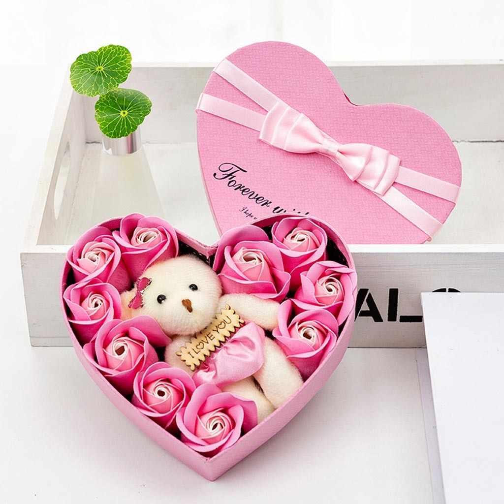 10 rosa Fiori di Sapone Fiore Giorno di san valentino Box Rosa Bears Bouquet Regalo di Festival Decorazione di Cerimonia Nuziale
