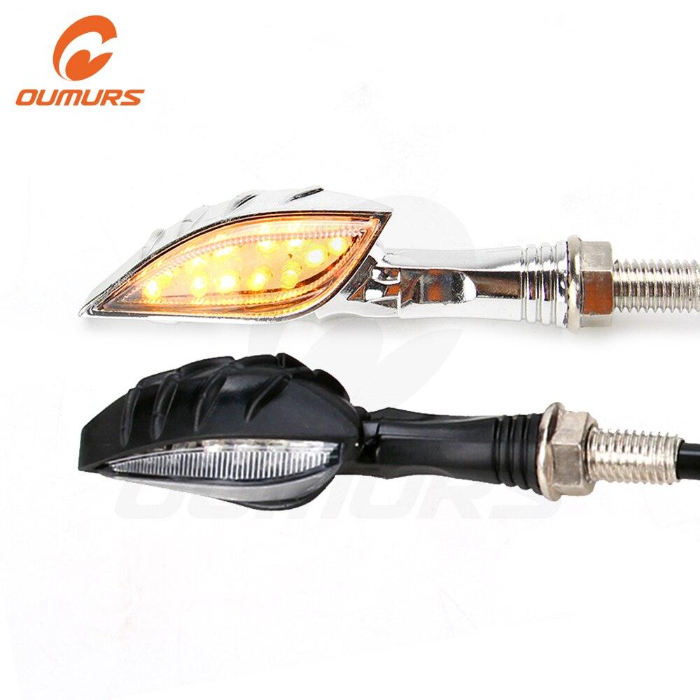OUMURS Motorcycle LED Turn Signal Light Indicator Amber Skull Hand Shape Chrome Black Lights Moto Lamp For Honda Yamaha Suzuki