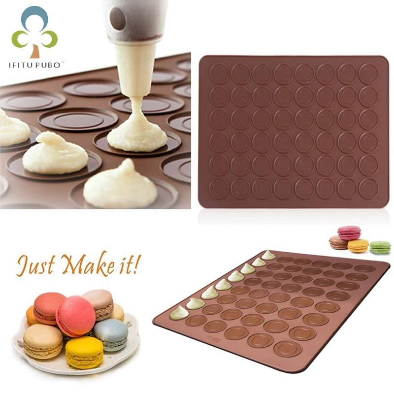 48//30holes Silicone Pastry Cake Macaron Macaroon Oven Mats Sheet Baking H6G9
