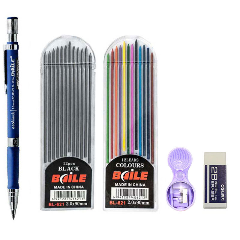 2.0mm Mechanical Pencil Set 2B Automatic Pencils with Color/Black Lead Refills for Draft Drawing, Writing, Crafting, Art Sketch